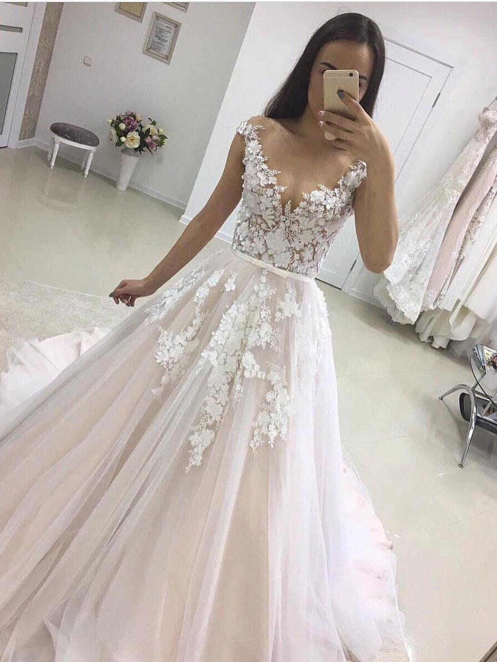 Aline Seethrough White Lace Appliqued Wedding Dresses