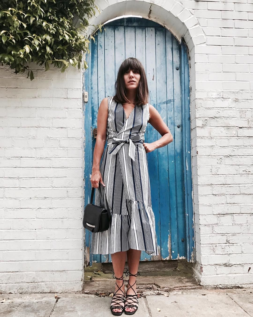 92d3f5ac91c Warehouse stripe wrap dress worn by Katherine Ormerod.