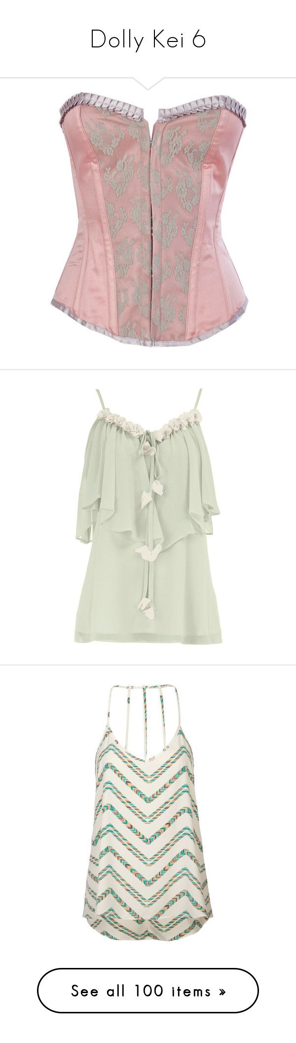 """""""Dolly Kei 6"""" by roseunspindle ❤ liked on Polyvore featuring tops, corsets, shirts, lingerie, underwear, tank tops, tanks, dresses, tie shirt and tie-dye tank tops"""