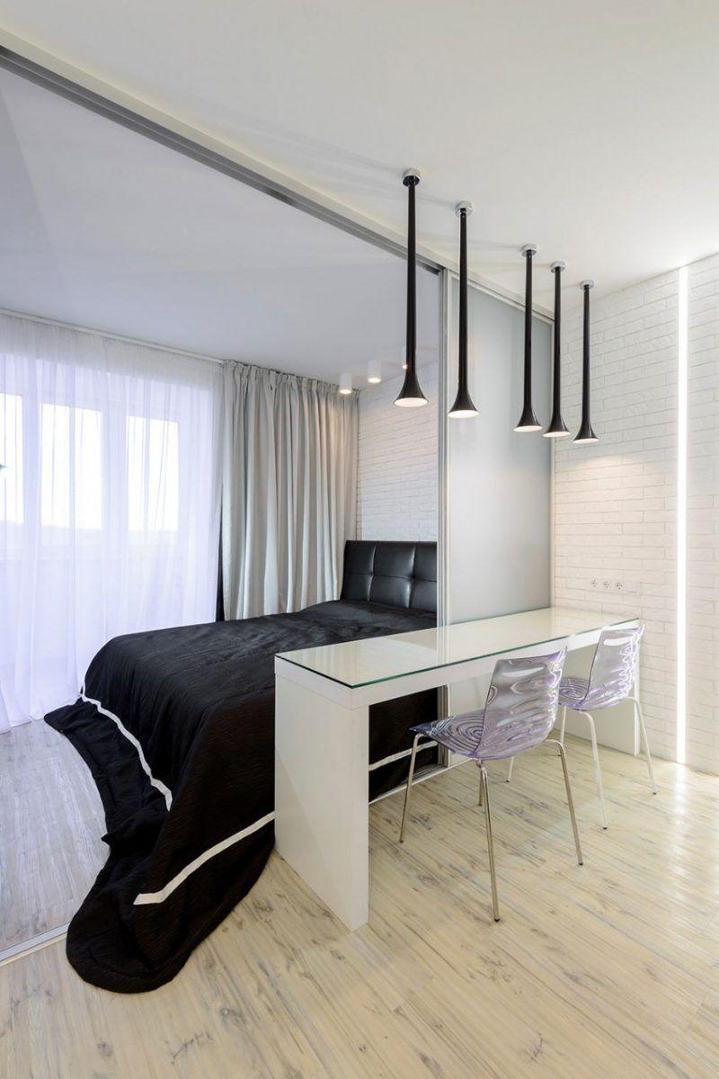 Moderne Schlafzimmer Schwarz Weiss Schiebetuer Home Office Trennen