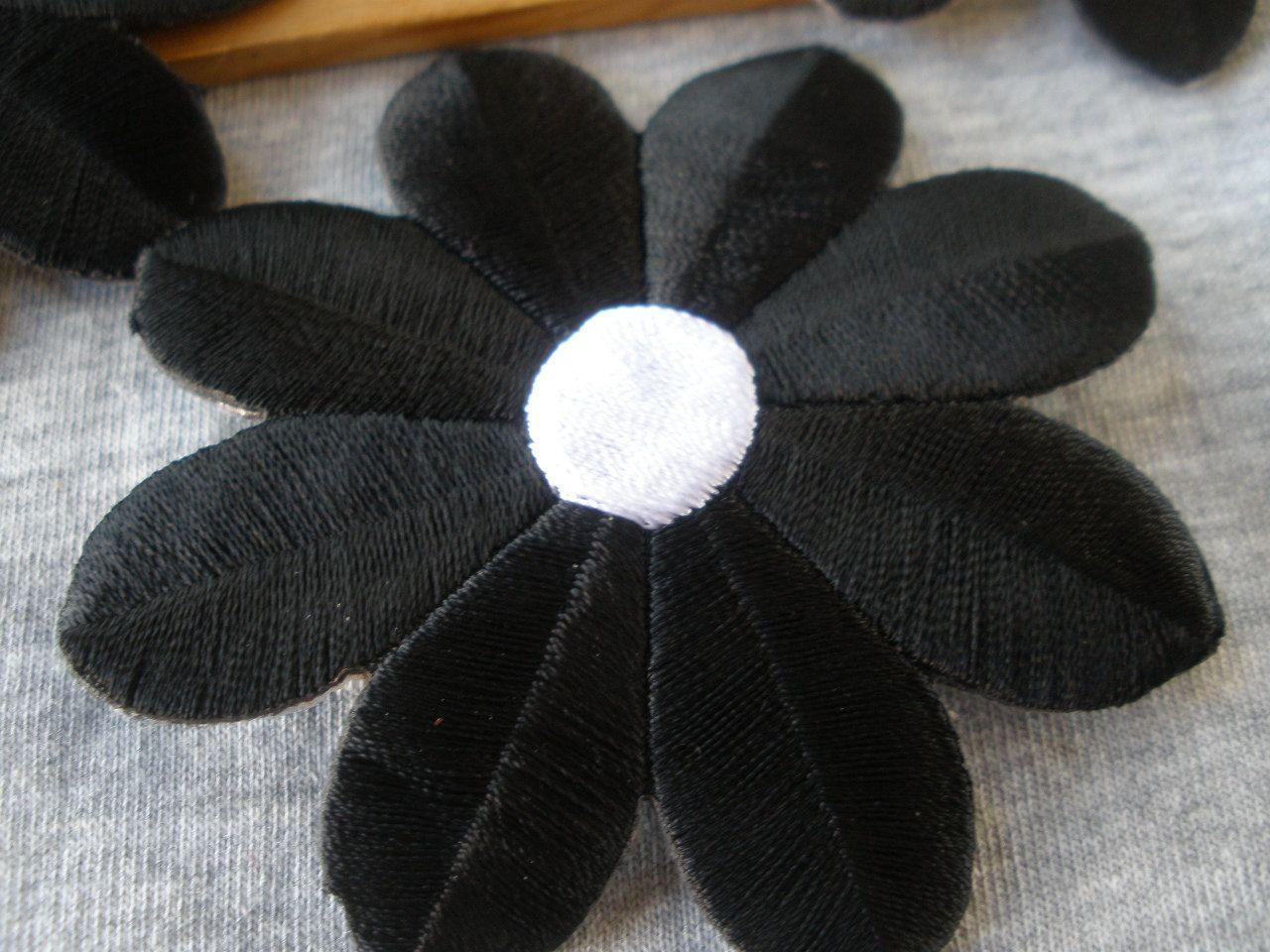 Sequin flower applique grey shabby flowers wholesale store