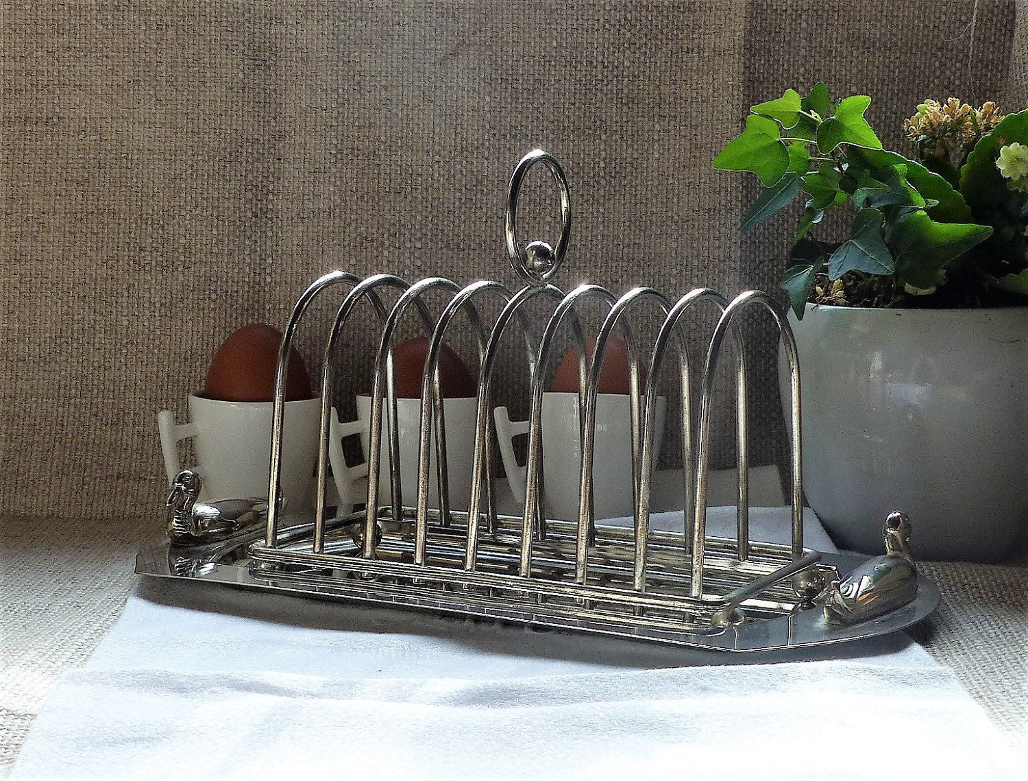 French Toast Rack Art Deco Style Stainless Steel With Tray