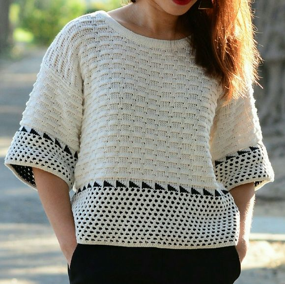 Geo Pattern Sweater Crop Top Brand New - Crochet knit crop top with boxy fit. 100% COTTON Lov Posh Tops Crop Tops