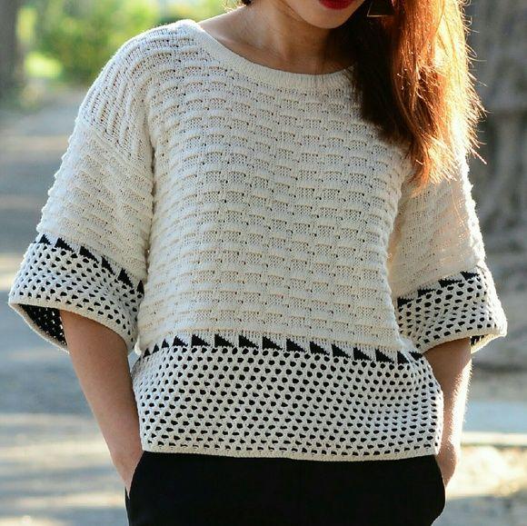 Geo Pattern Sweater Crop Top Brand New - Crochet knit crop top with ...