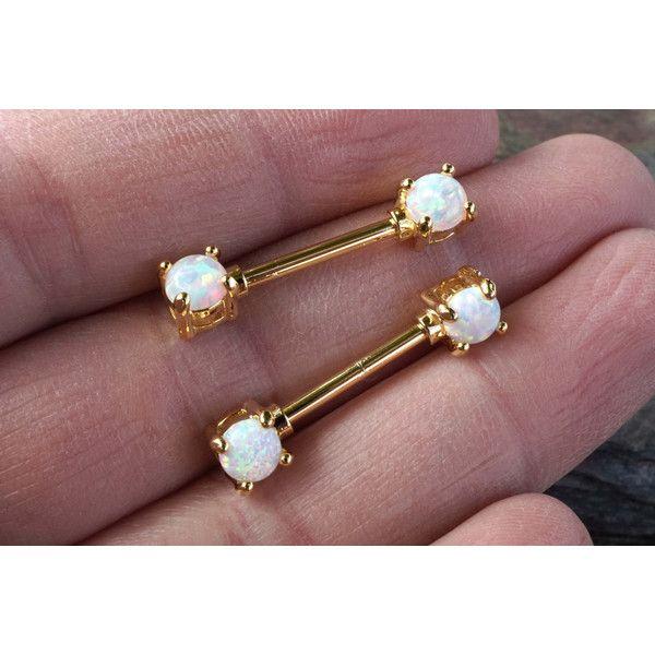 White Opal Gold Nipple Ring Nipple Piercing Nipple Jewelry 26 CAD
