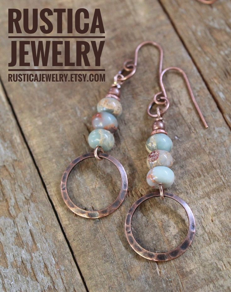 Photo of Bohemian Earrings, Copper Earrings, Copper Jewelry, Natural Stone Jewelry, Copper Dangle Earrings