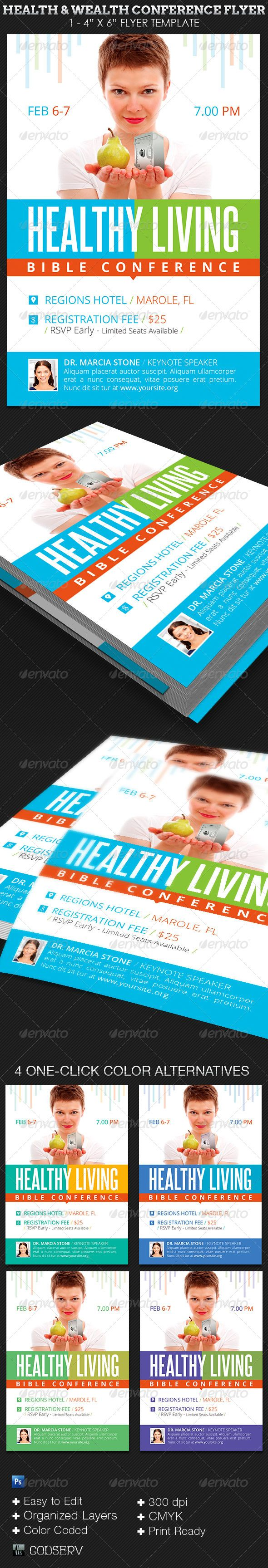 Health Wealth Conference Flyer Template  Church Flyers  Church