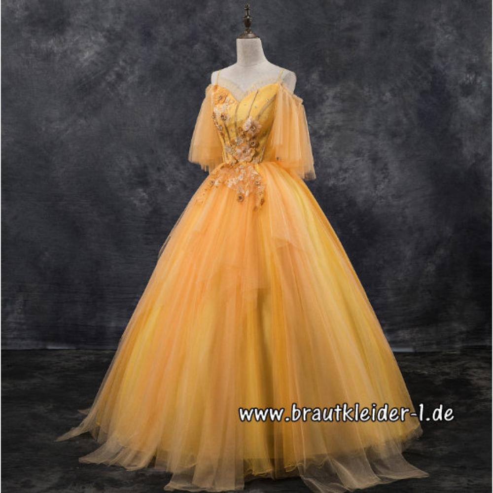 tüll brautkleid schulterfrei bodenlang in gelb | kleider