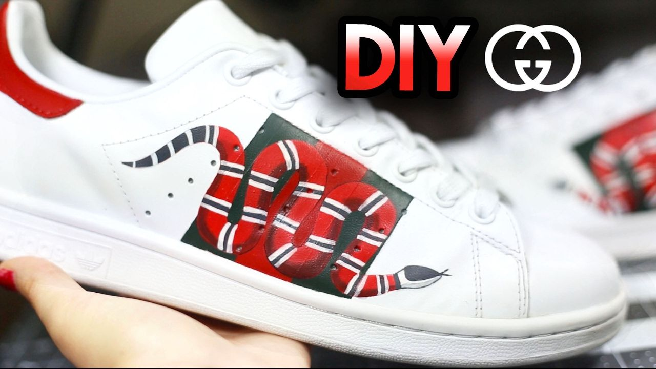 new styles 75ff5 b5f58 How To Gucci Snake Custom Shoes From Adidas Stan Smiths  Drawing + Sha.