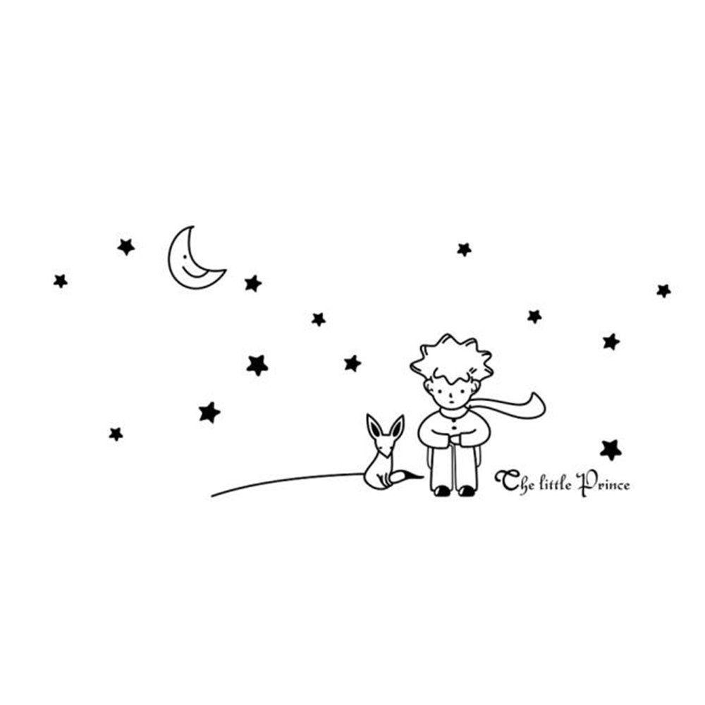 Le petit prince etoiles lune boy autocollant mural home for Dessin mural