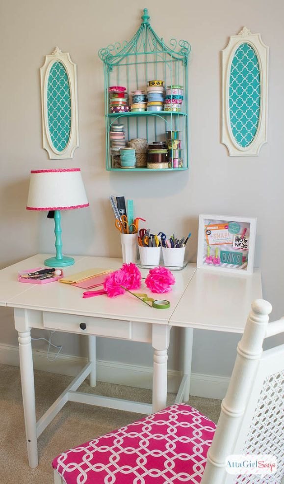 pink home office design idea. Hometalk :: Pink Green Girly \u0026 Organized: Ultimate Home Office Craft Room Makeover Design Idea