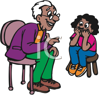 Royalty Free Clipart Image of a Grandfather and Granddaughter ...