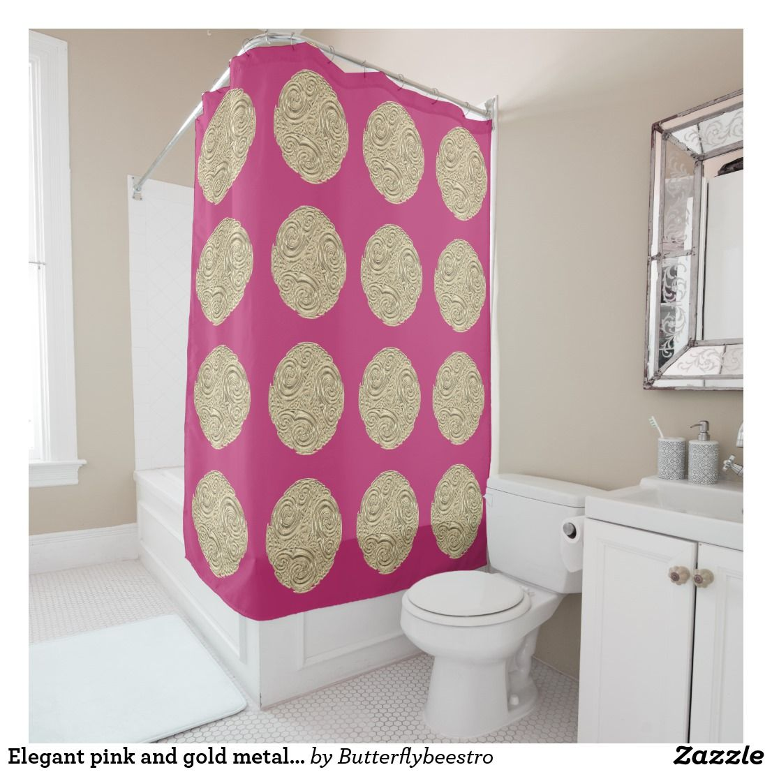 Elegant Pink And Gold Metallic Medallion Shower Curtain Zazzle