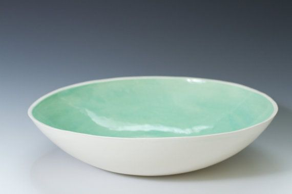 Large Turquoise and White Ceramic Bread Bowl 9 3/4 inches