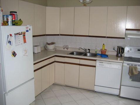 Before and Afters of simple kitchen upgrades with 80s cabinets