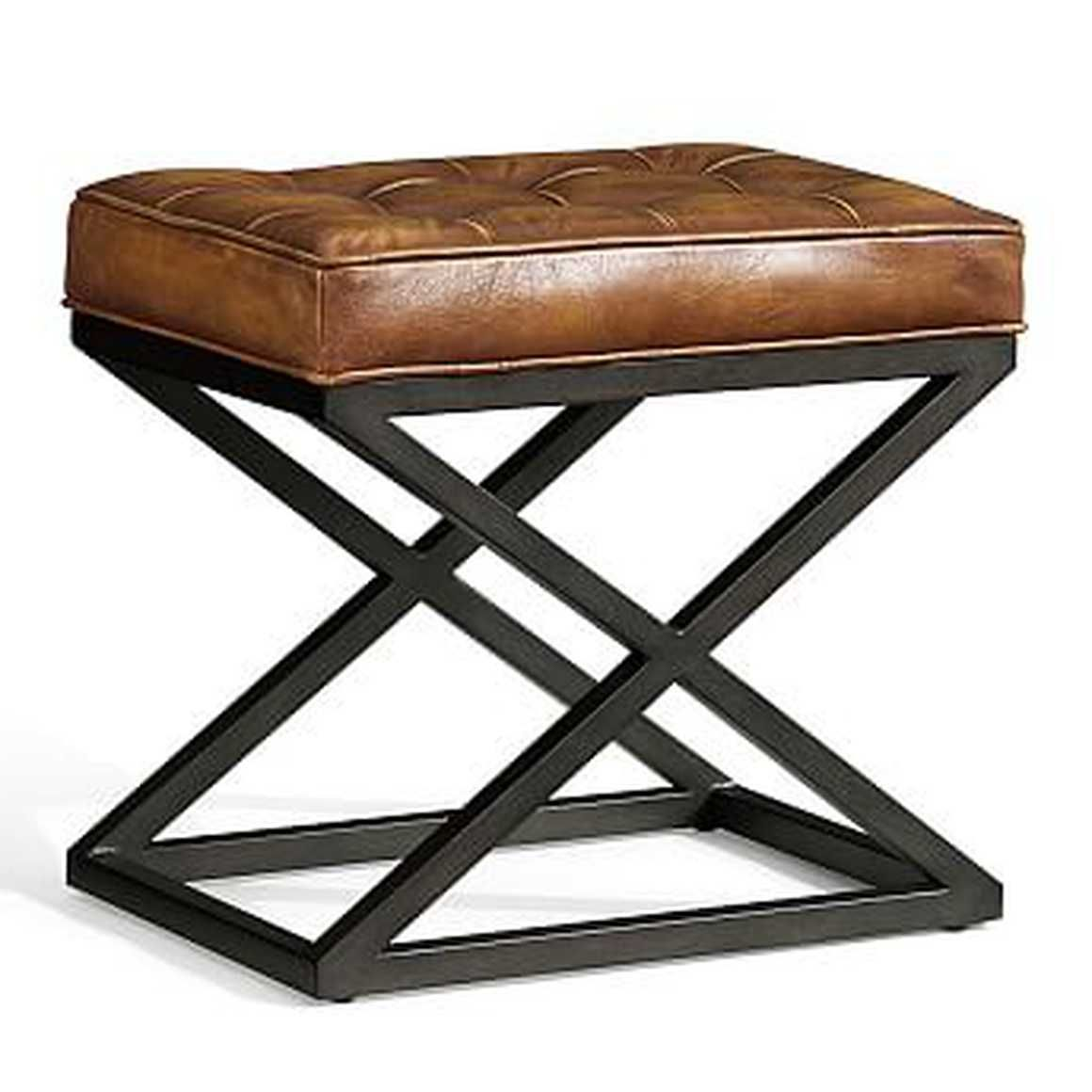 Kirkham Tufted Leather X Base Stool Small Light Brown