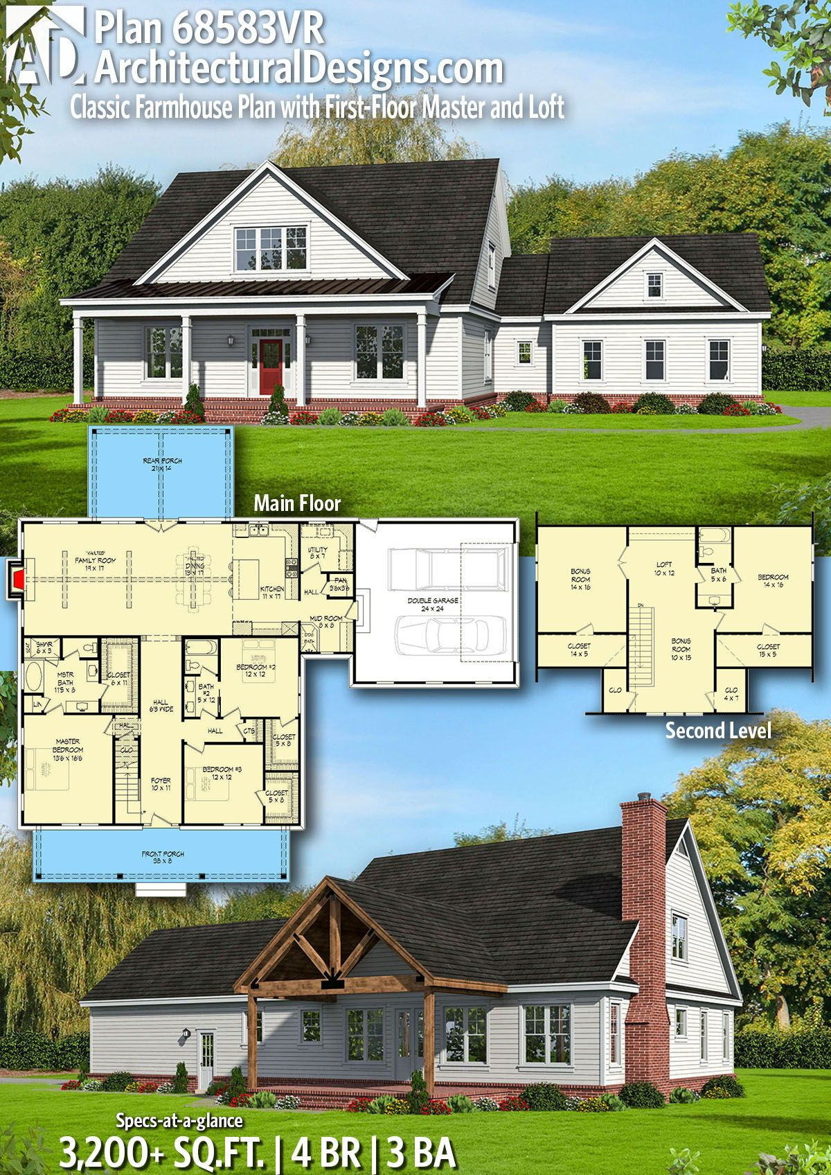 Plan 68583vr Classic Farmhouse Plan With First Floor