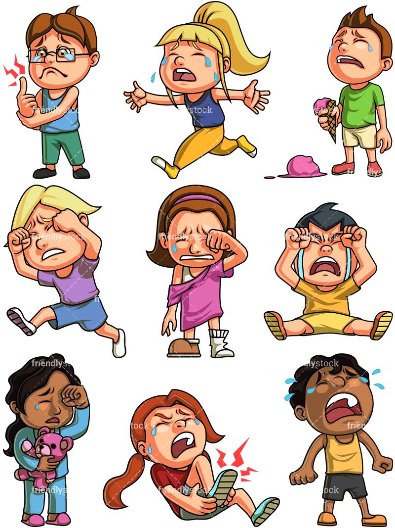 Kids Crying Cartoon Clipart Vector Friendlystock Crying Cartoon Crying Kids Boy Crying