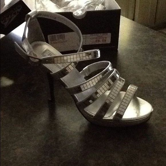 Silver Sparkly Mirrored Heels Great Condition. Worn Once. Touch Ups Shoes Heels