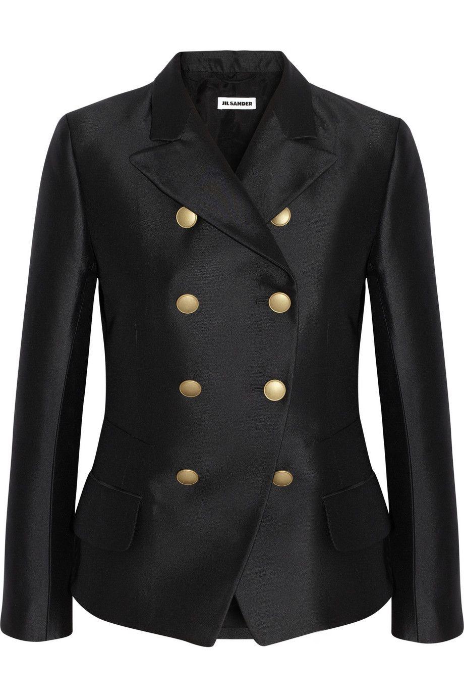 Jil Sander | Double-breasted silk-blend twill blazer | NET-A-