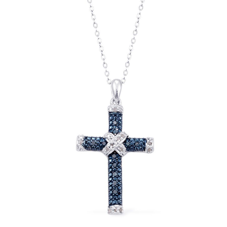Liquidation Channel - Affordable Blue Diamond (Rnd), Diamond Cross Pendant With Chain (20 in) in Platinum Overlay Sterling Silver Nickel Free TDiaWt 0.20 cts, TGW 0.20 cts.