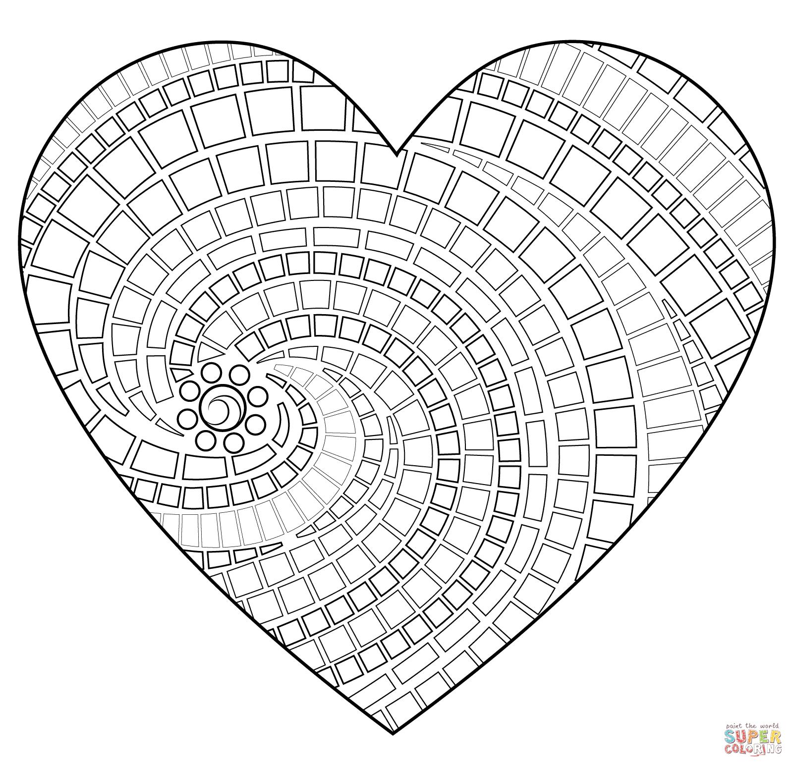 Dibujo de Mosaico en forma de corazón para colorear | Dibujos para ...