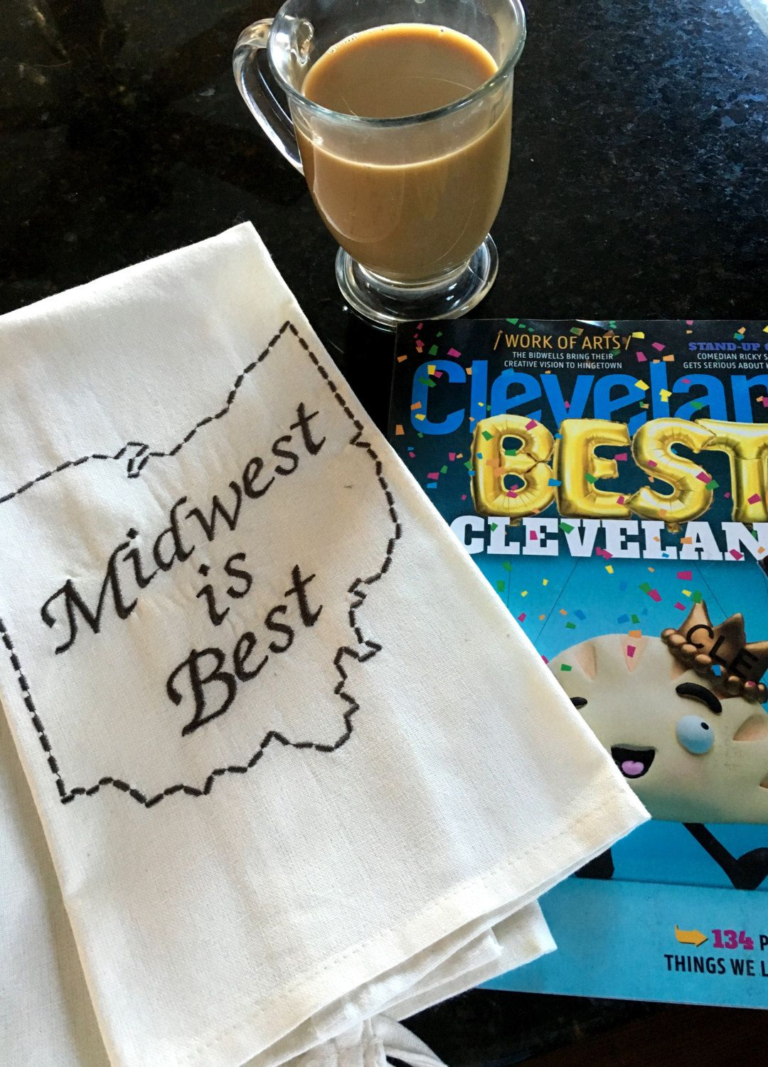 Midwest is Best Embroidered Tea Towel - Ohio Tea Towel by LindasOtherLife on Etsy