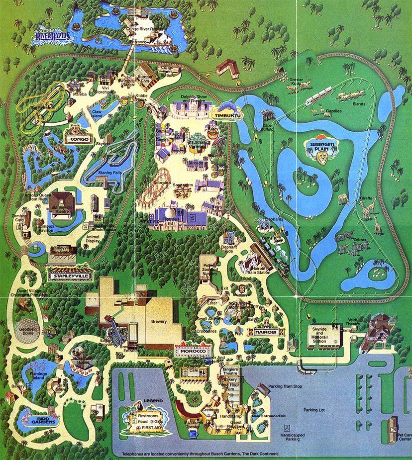 Busch Gardens The Dark Continent Theme Park Maps - Bush gardens park map