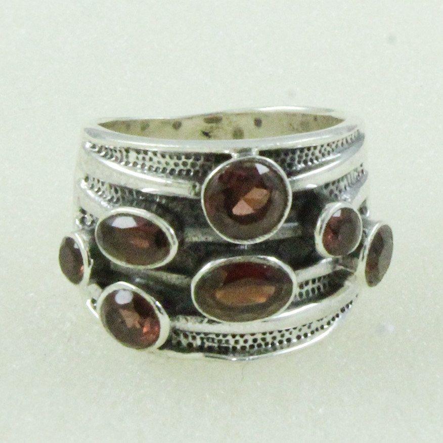 Designer Look Garnet Stone 925 Sterling Silver Ring by JaipursilverindiaCo on Etsy