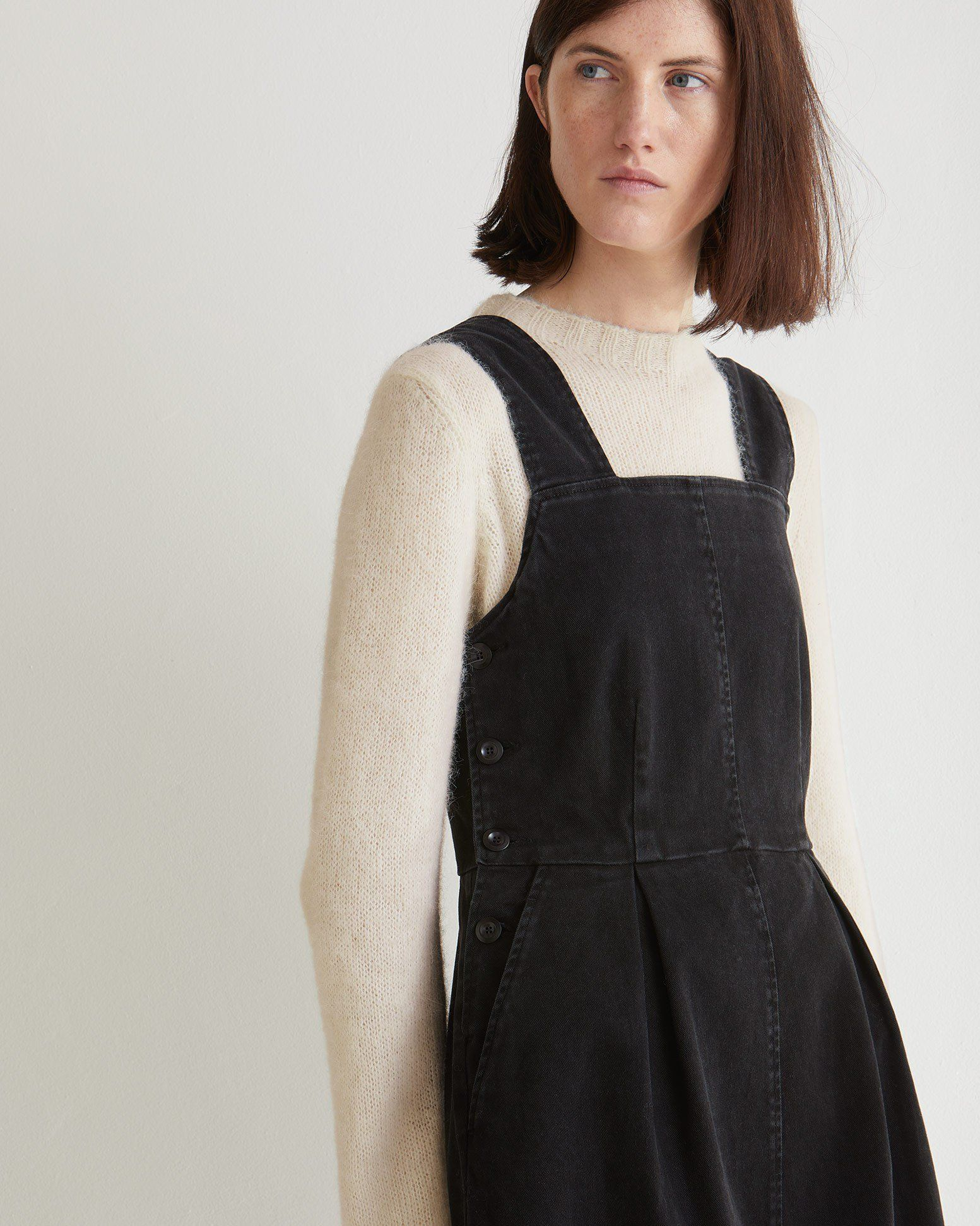forefront of the times for whole family big clearance sale COTTON TWILL FITTED PINAFORE DRESS | Soft, peachy cotton ...