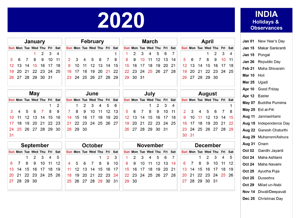 Yearly 2020 Calendar For All Months Printable Calendar Calendar 2019 Template Calendar Printables Print Calendar