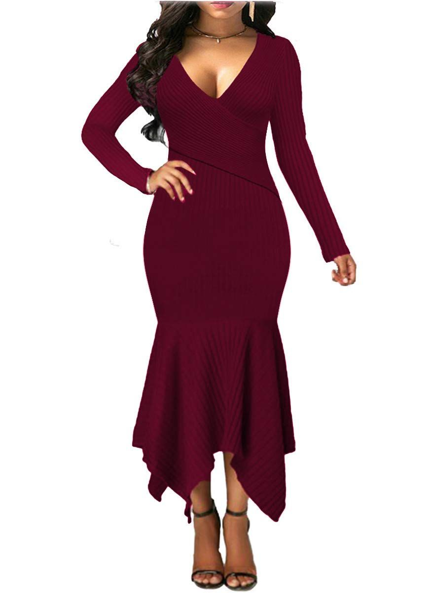 9403af4033c85 Uotige Womens Long Sleeve Stretchable Elasticity Slim Fit Sweater Dress  Surplice Wrap Bodycon Knit Maxi Dress