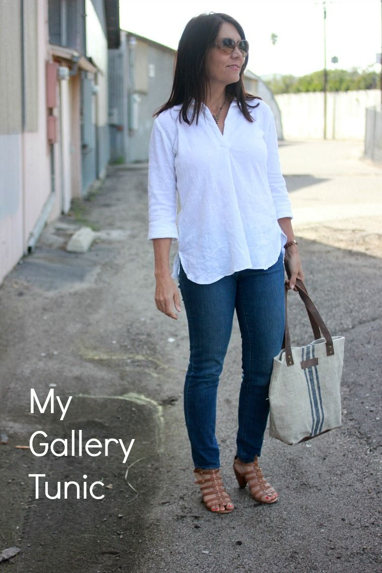 A Gallery Tunic in white eyelet gauze (Sew Country Chick- DIY
