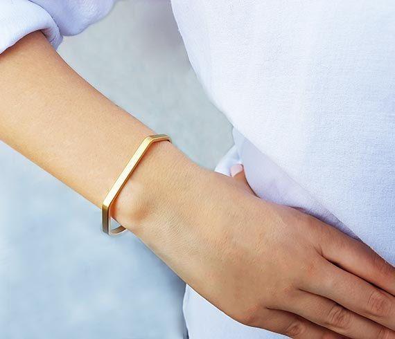 Simple cuff bracelet.Minimalist modern cuff bracelet.layering-stacking cuff Gold minimalist cuff Modern black leather cuff bracelet