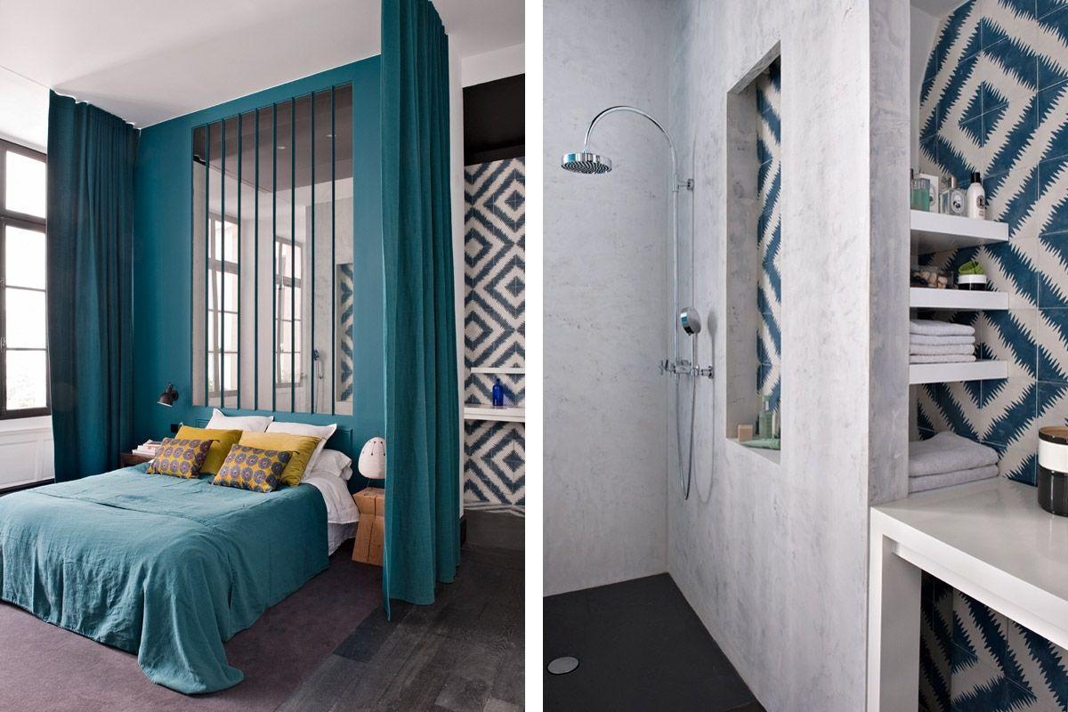Chambre Parentale Bleu Canard suite parentale bleu canard avec une tête de lit verrière