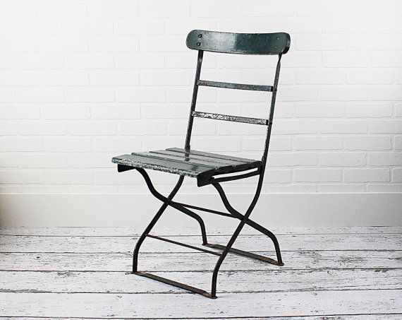 Vintage French Bistro Chair Cafe Garden C 1930s Old Green Paint