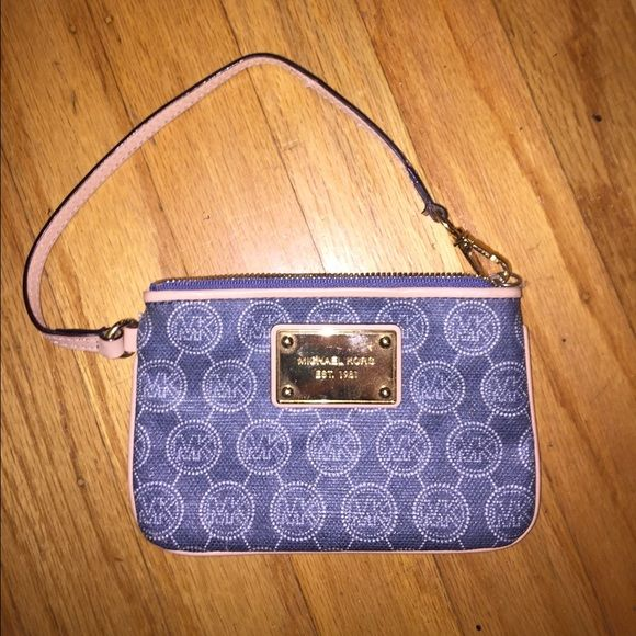 Michael Kors Wristlet Blue and white classic MK stitching with gold accent Michael Kors Bags Clutches & Wristlets