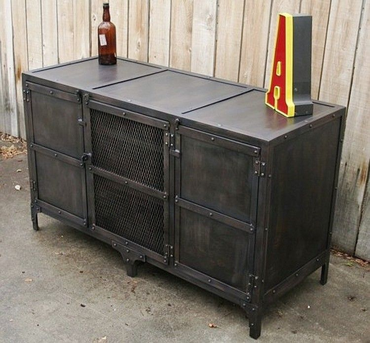 New Custom American Iron Retro Living Room TV Cabinet To Do The Old Metal Sideboard Locker
