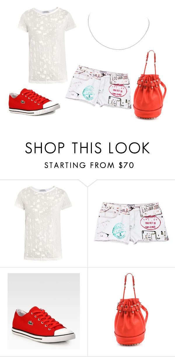 """""""SS - D - SHORTS, T-SHIRT, SNEAKERS - RED & WHITE"""" by laliquemurano on Polyvore featuring J.W. Anderson, Lacoste, Alexander Wang, women's clothing, women, female, woman, misses and juniors"""