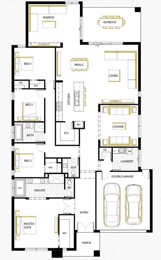 Dise o de casa de una planta con planos y fachadas for Distribucion de una casa de una planta