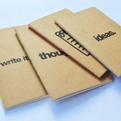 Conjunto de 4 Caderninhos Kraft
