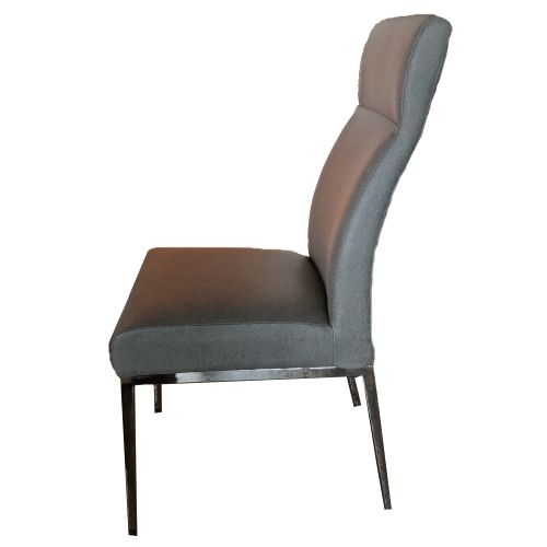 Morton Is One Of Our Most Comfortable Dining Chairs It Features 4 Sy Legs In Shiny Chrome And A Plush Seat Covered Sanded Charcoal Grey Vinyl