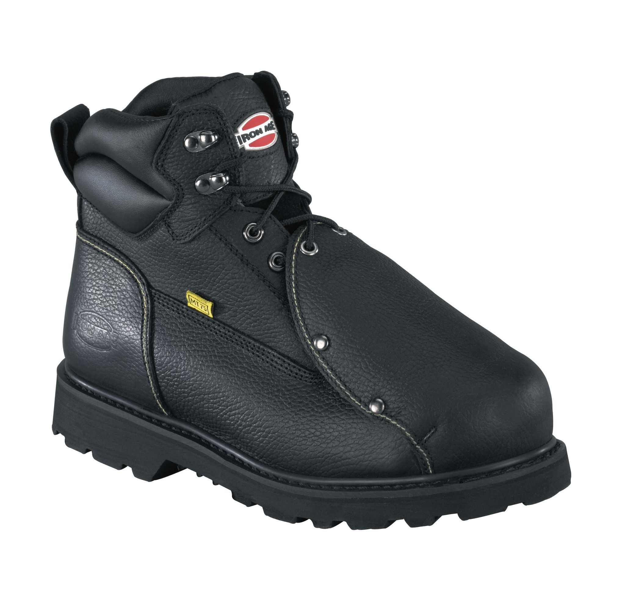 Iron Age Mens Black Leather Met Guard Work Boots Ground