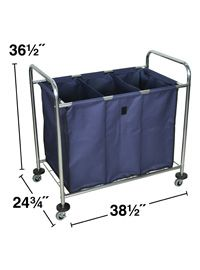 Hl15 Industrial Laundry Cart With Dividers Steel Canvas