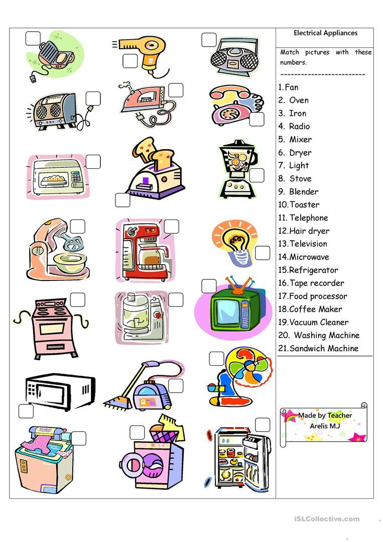 Electrical Appliances worksheet worksheet - Free ESL printable worksheets  made by teachers   Electrical appliances [ 1079 x 763 Pixel ]