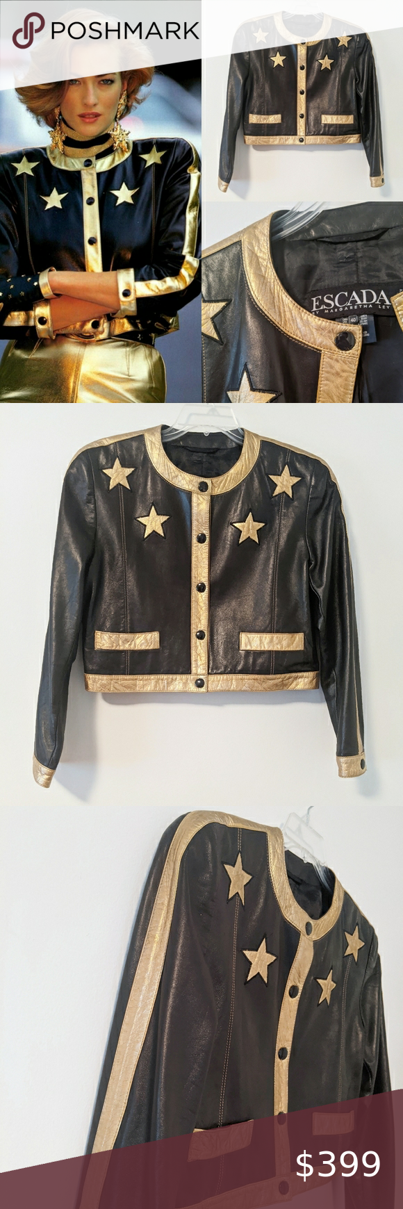 Vintage Escada Gold Star Cropped Leather Jacket Cropped Leather Jacket Vintage Leather Jacket Purple Leather Jacket [ 1740 x 580 Pixel ]