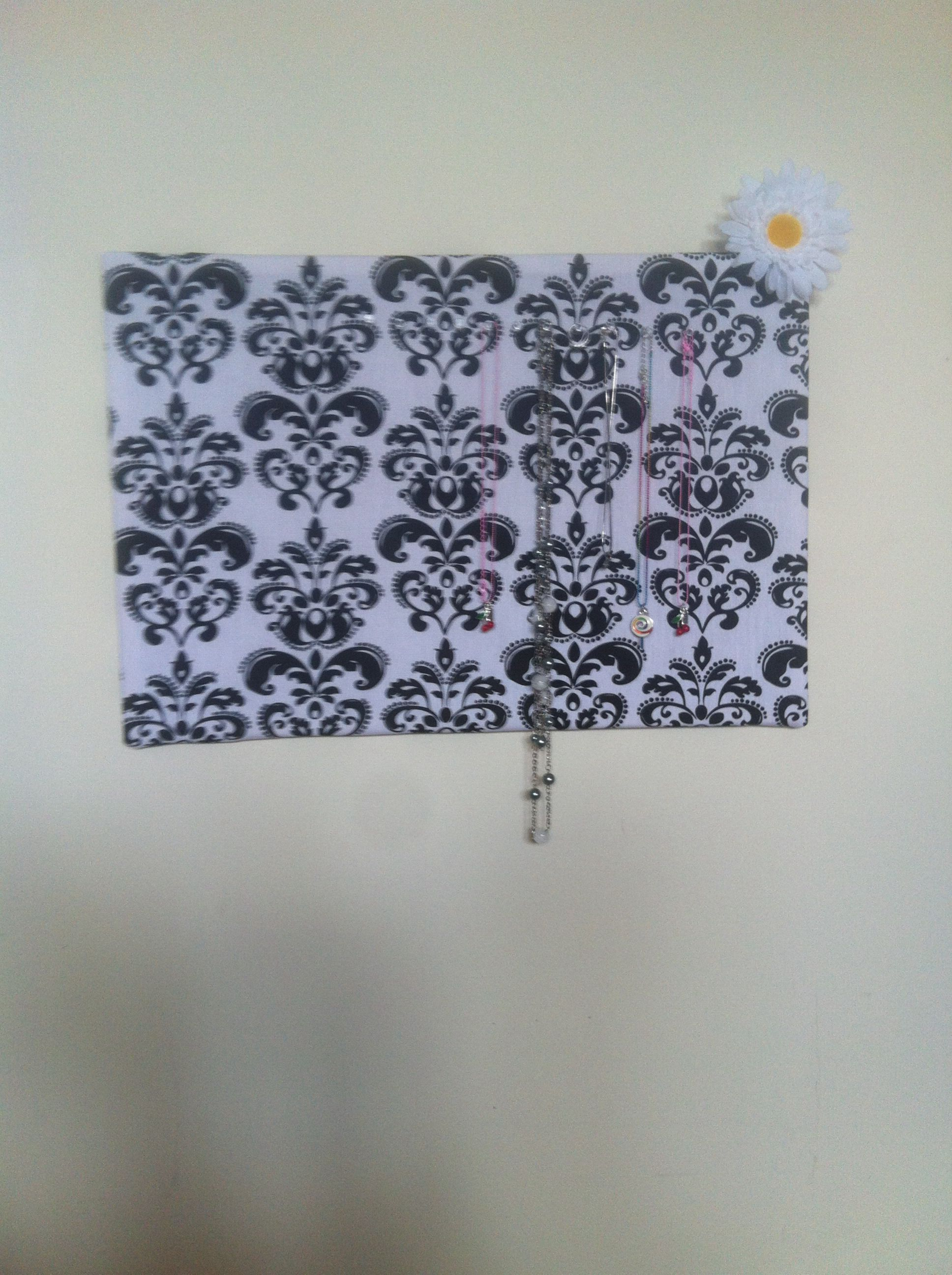 Jewelry holder Made from cork board Just cover with fabric staple in