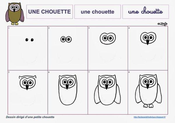 Dessin par tapes apprentissage dessin enfant dessin hibou dessin et dessin automne - Chouette a dessiner ...