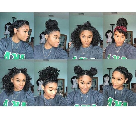 8 bun styles for natural, curly hair ,(Ig_kharissa
