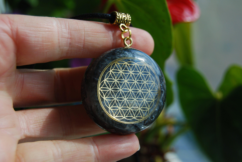 Tourmaline Selenite EMF Protection Flower of life Orgone Pendant  Healing Aura